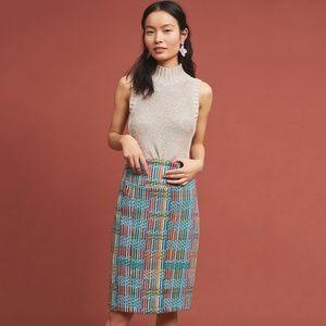 Anthro Rainbow Tweed Pencil Skirt Eva Franco